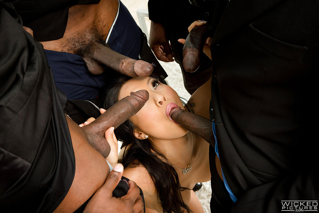 Asian black cock gangbang