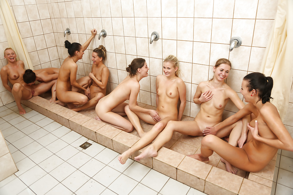 Mature Naked Group Shower